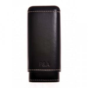 Бокс сигарный P and A на 2-3 сигары Робусто-Черчилль Black кожа+кедр