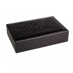 Хьюмидор Gentili 15 сигар ясень+кожа/кедр (black)