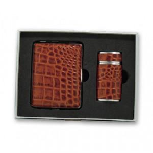 Набор S.Quire: портсигар+пепельница карманная, сталь+натуральная кожа, коричневый цвет с рисунком