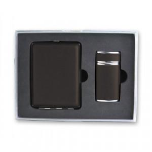 Набор S.Quire: портсигар+пепельница карманная, сталь+натуральная кожа, черный цвет