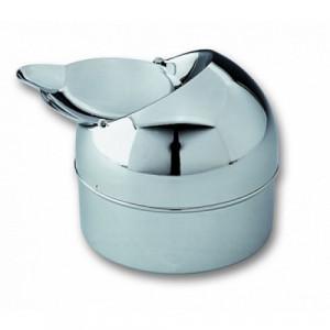 Пепельница S.Quire круглая, сталь, покрытие никель, серебристый, с откидной крышкой, 90 мм