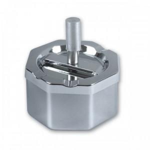 Пепельница S.Quire восьмиугольная, сталь, поукрытие никель, серебристый, с серебристой ручкой, 90 мм