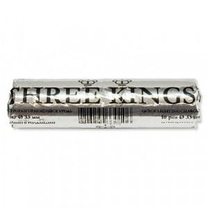 Уголь самовозгорающийся Three Kings ORIGINAL (10 таблеток 33мм)